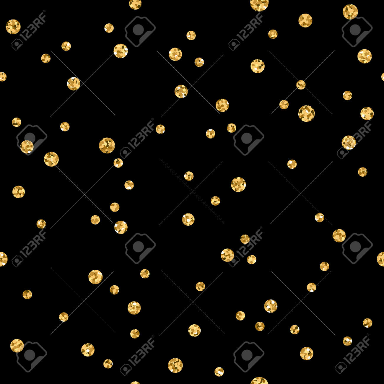 polka dots seamless pattern gold glitter and black template