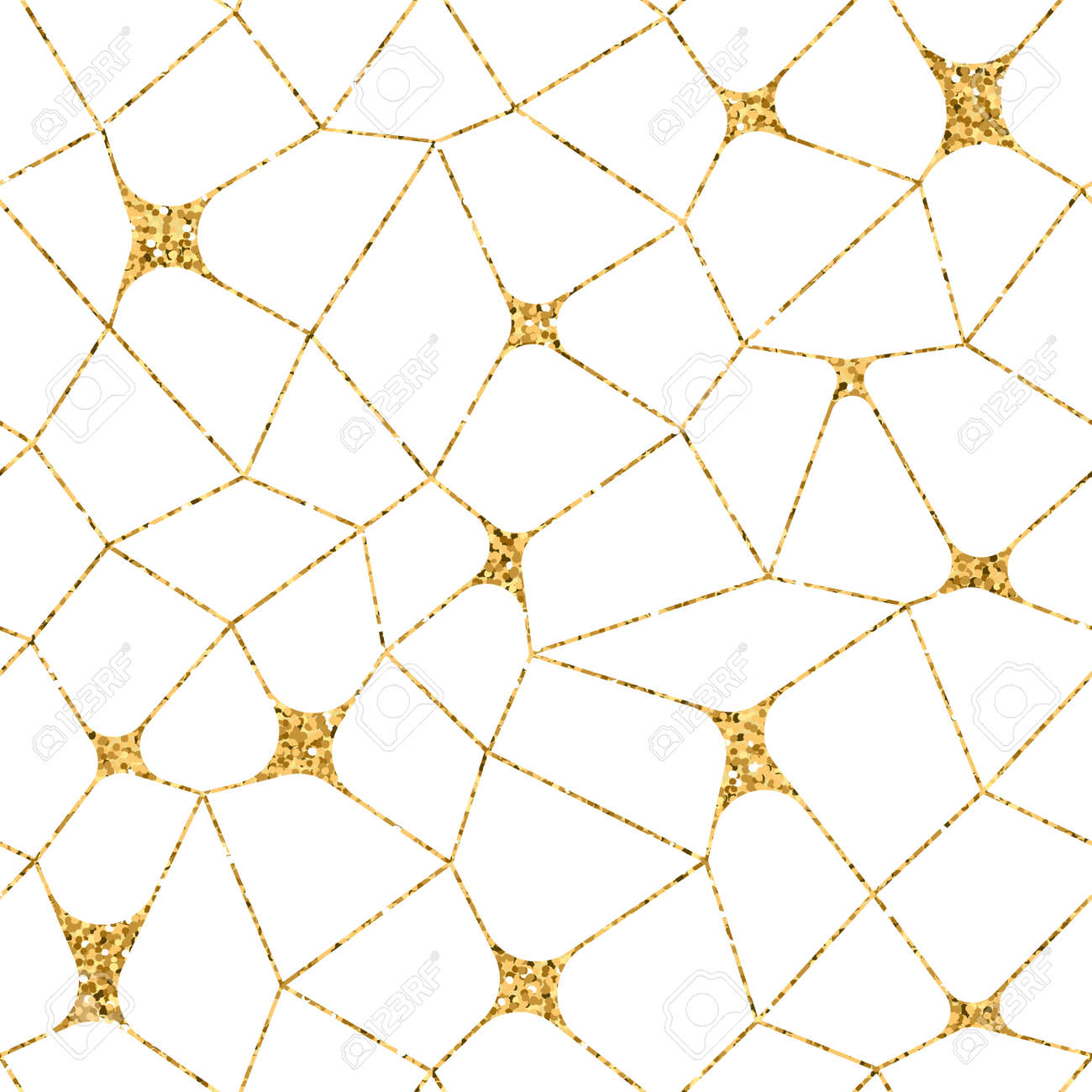 Mosaic Geometric Seamless Pattern 3d Gold Glitter White Template