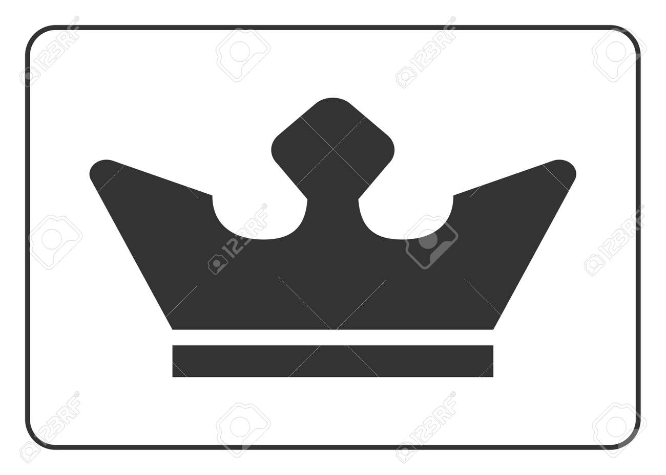 Crown Icon Black Shape Sign Isolated On White Background Symbol