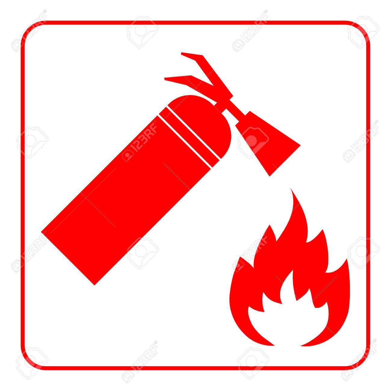 Fire Extinguisher Icon With Flame Extinguishing Sign Symbol