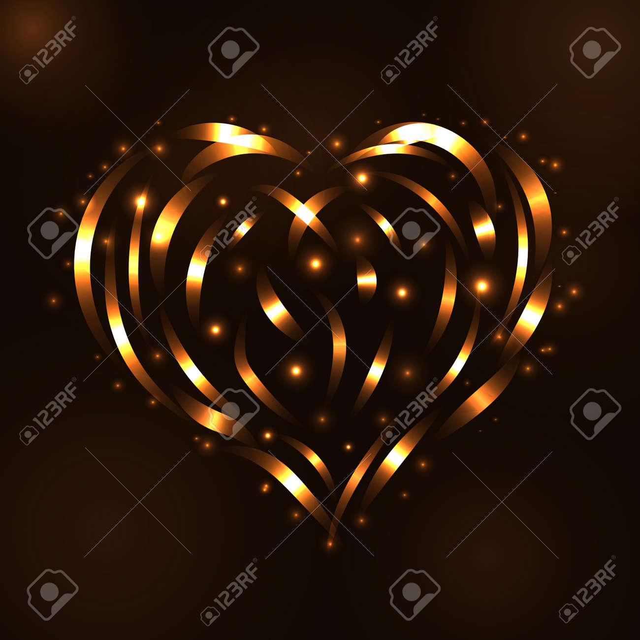 gold heart light tracing effect glowing magic fire trace sparkle