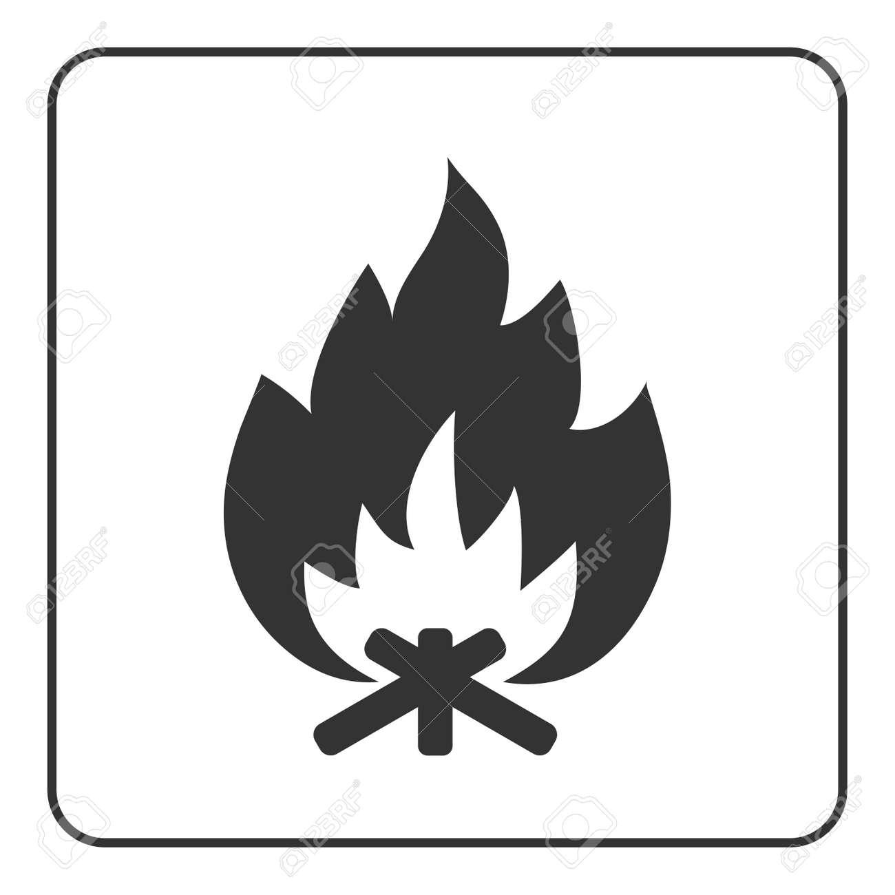 Icône De Feu De Camp Signe De Feu De Joie Chaud Silhouette De Bois De Chauffage Et Flamme Noir Isolé Sur Fond Blanc élément Graphique De Dessin