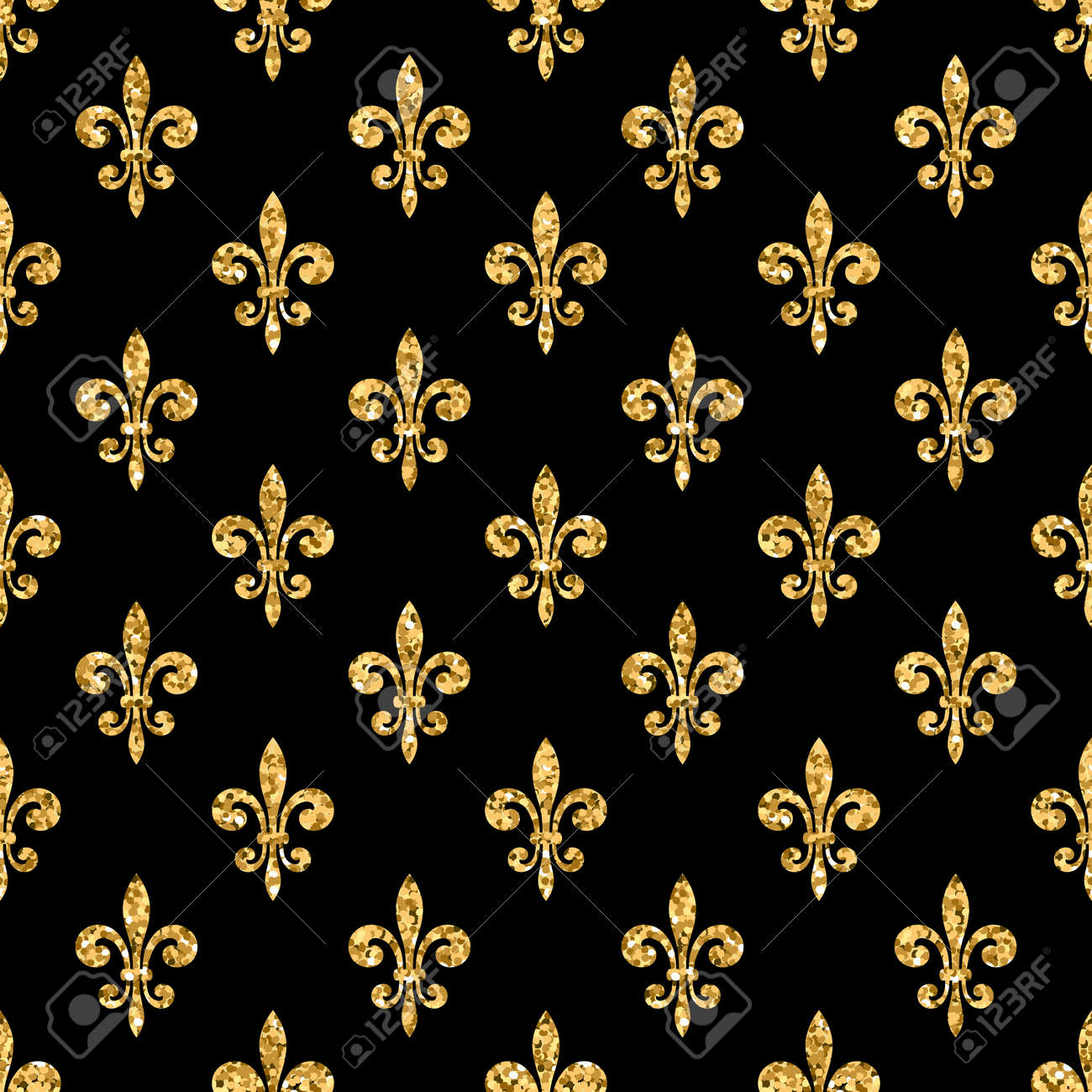 golden fleur de lis seamless pattern gold glitter and black stock