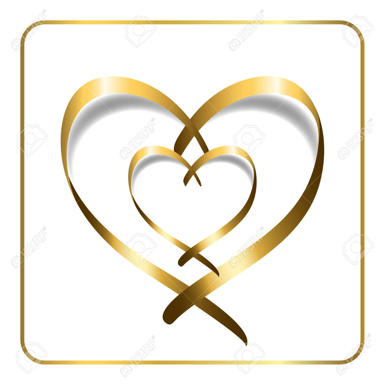 Gold Ribbon Double Heart Golden Silhouette Isolated On White