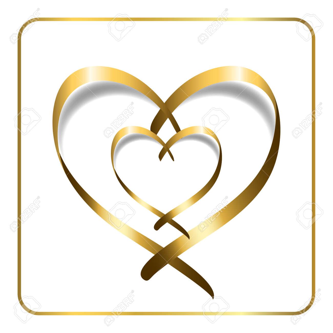 Goldbanddoppelherz Goldene Silhouette Isoliert Auf Weissem