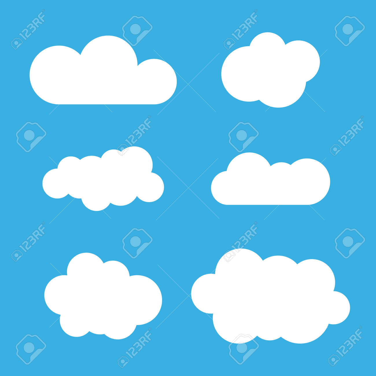 Cloud Icons Set White Outline Isolated On Blue Sky Background Collection Template Elements Design