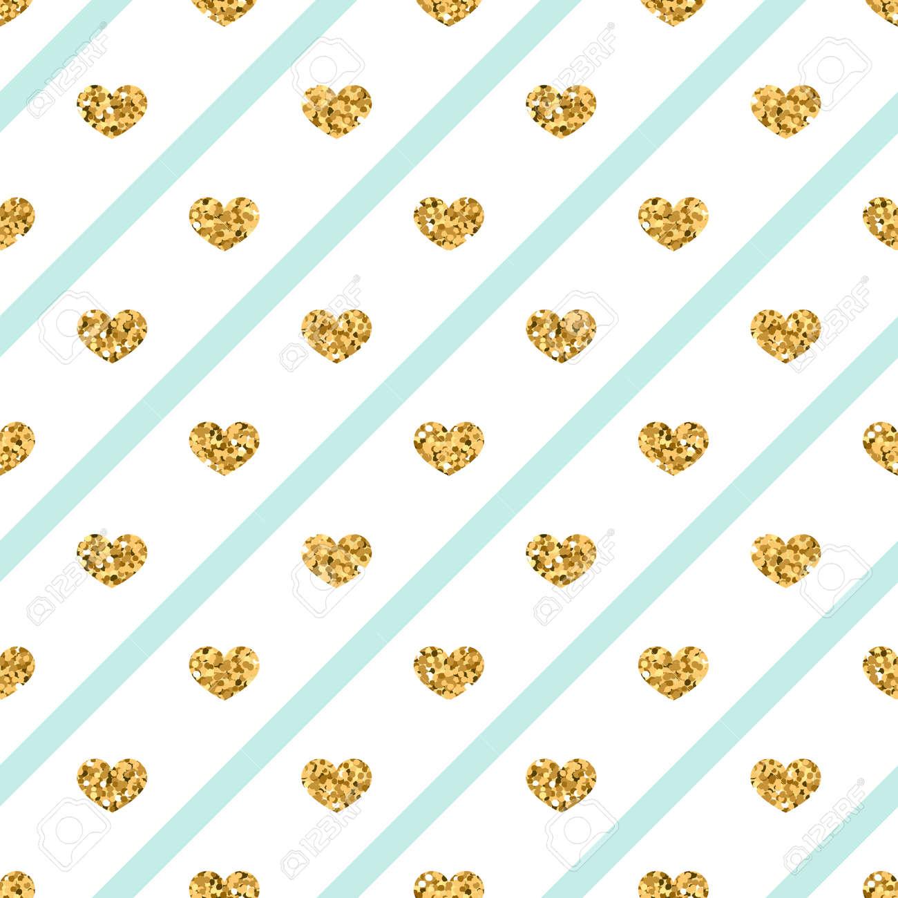 Golden Glitter Love Confetti Hearts On White Blue Line Background