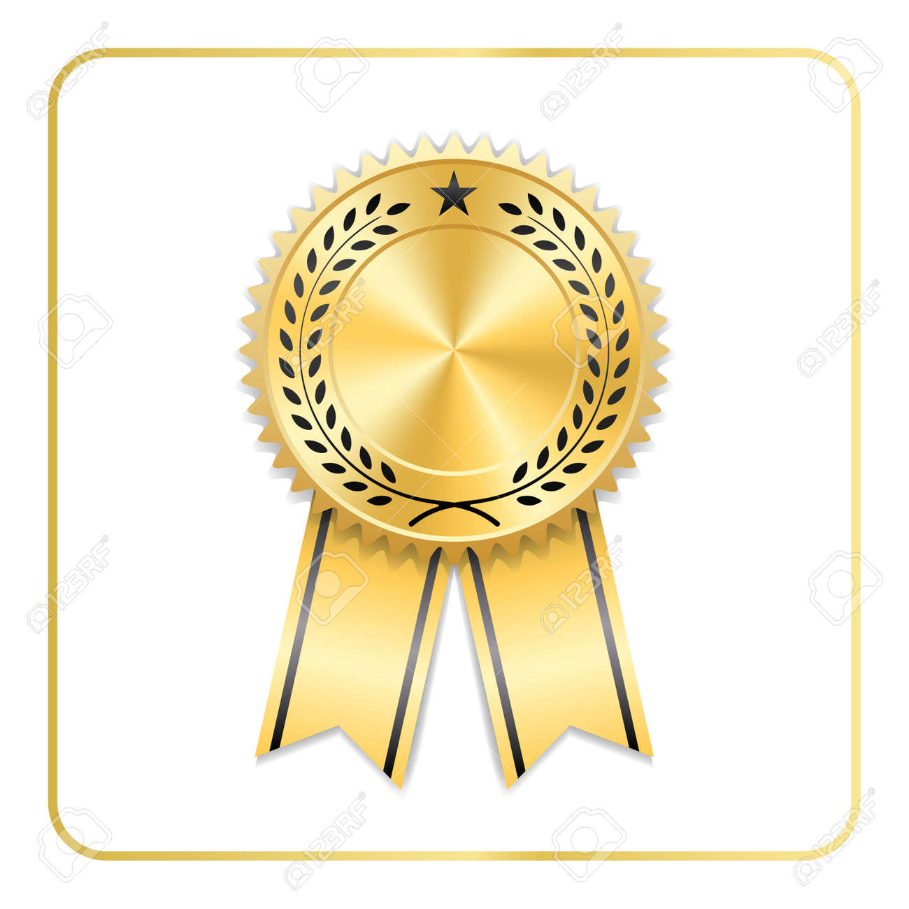 award ribbon gold icon blank medal with laurel wreath isolated