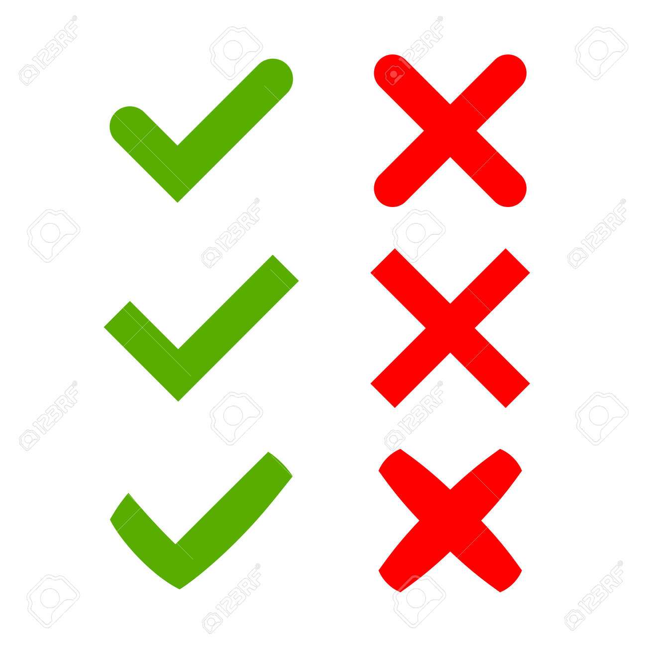 Green Checkmark Ok And Red X Icons Isolated On White