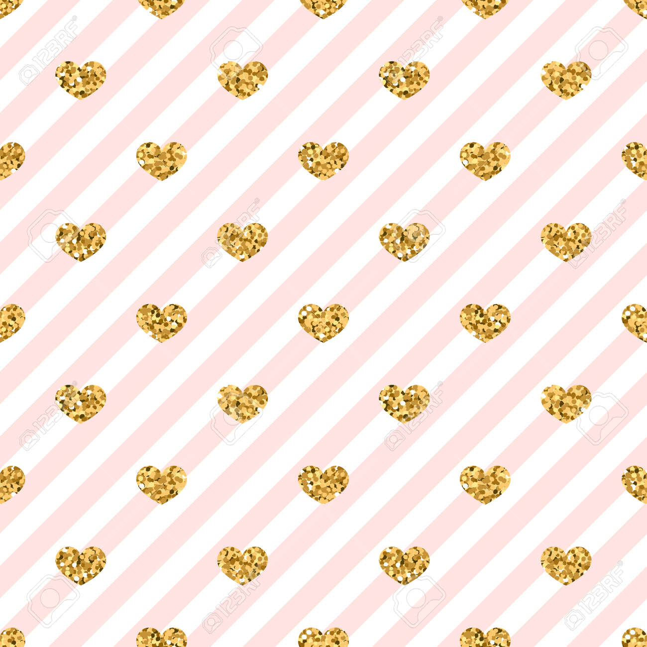 Golden Glitter Love Confetti Hearts On White Pink Line Background