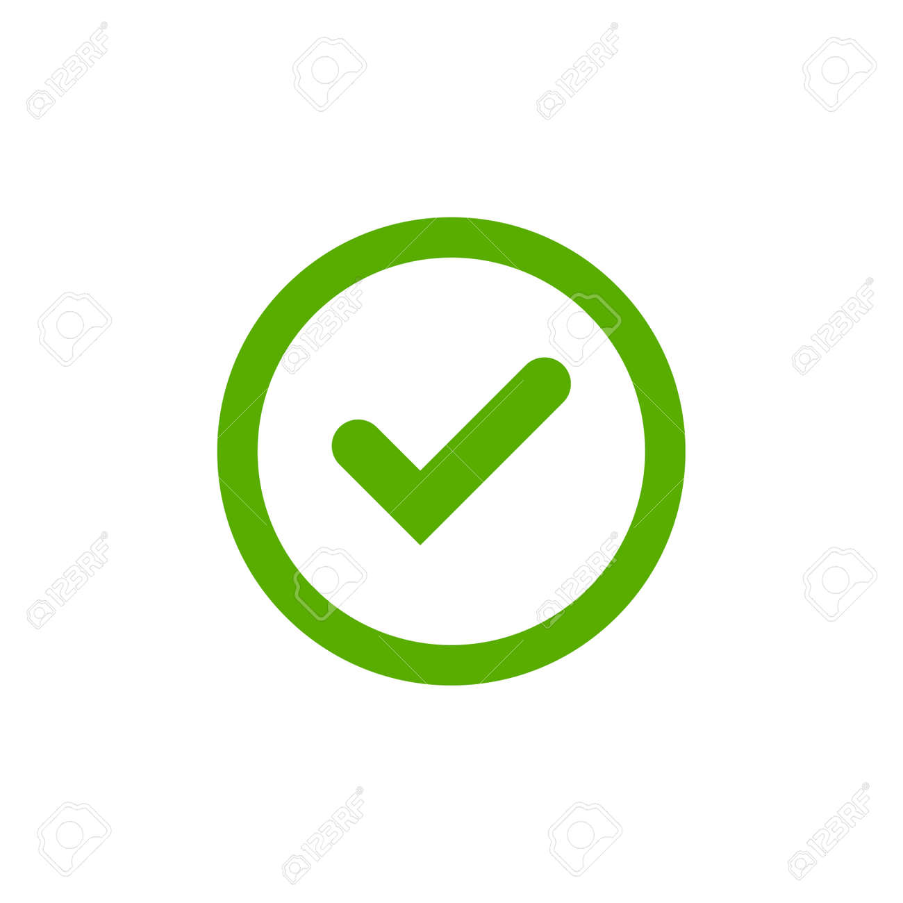 Tick Sign Element Green Check Mark Icon Isolated On White