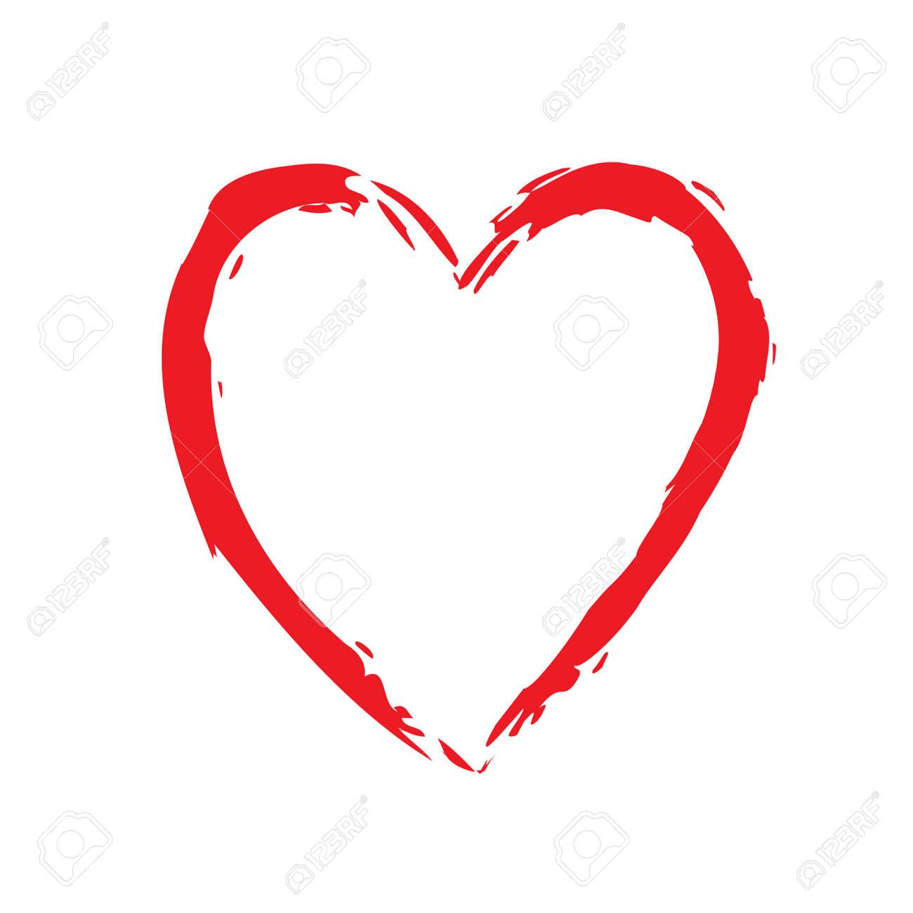 Icone Brillante De Coeur Rouge Signe De Forme Brosse De Dessin
