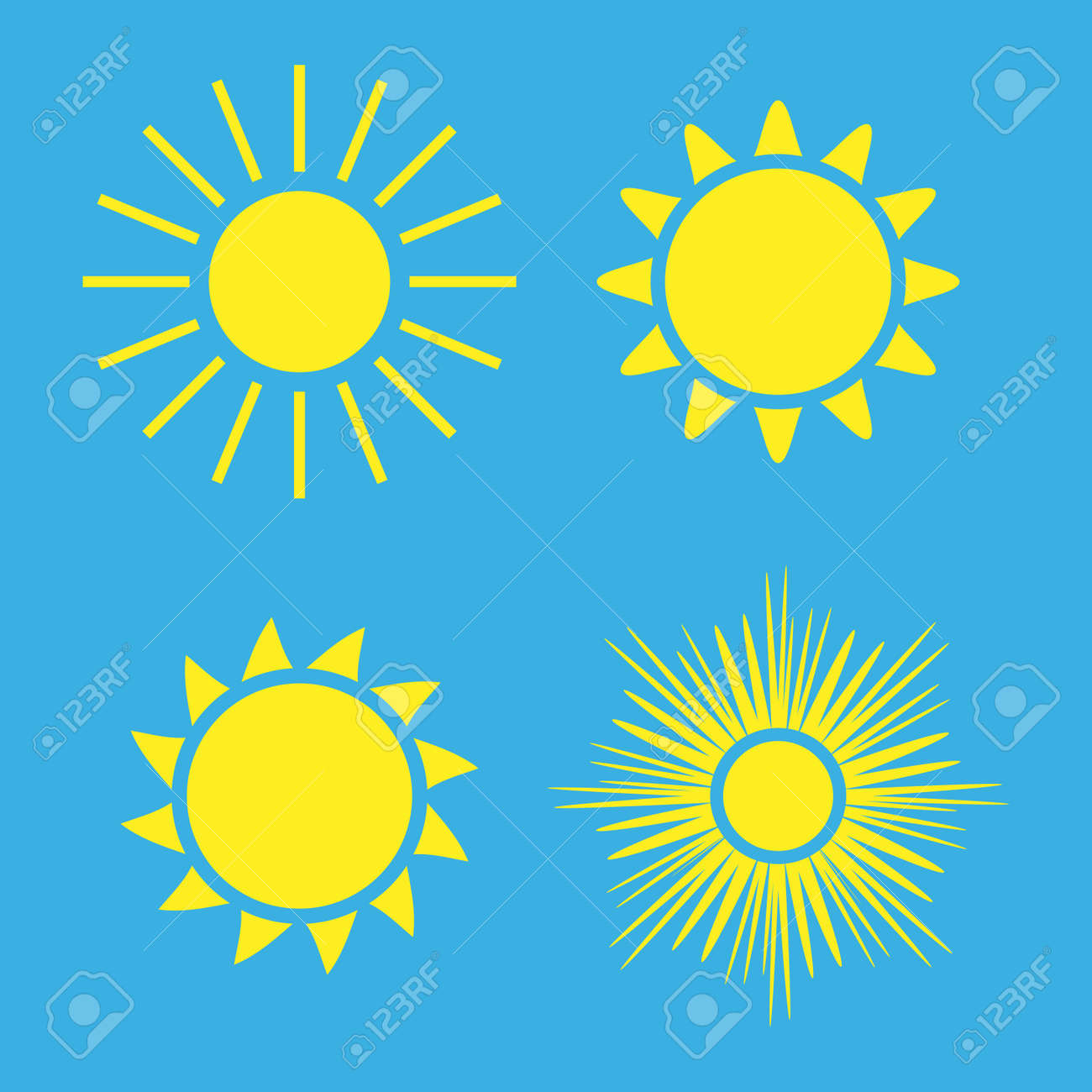 Sun icons set. Collection light yellow signs with sunbeam. Design elements, isolated on blue background. Symbol of sunrise, heat, sunny and sunset, morning, sunlight. Flat style. Illustration. Stock Photo - 73497087