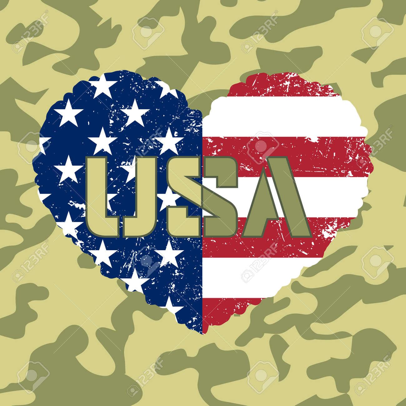 Unabhängigkeitstag USA Hintergrund Mit Herz-Flagge. Symbol Der 4 ...