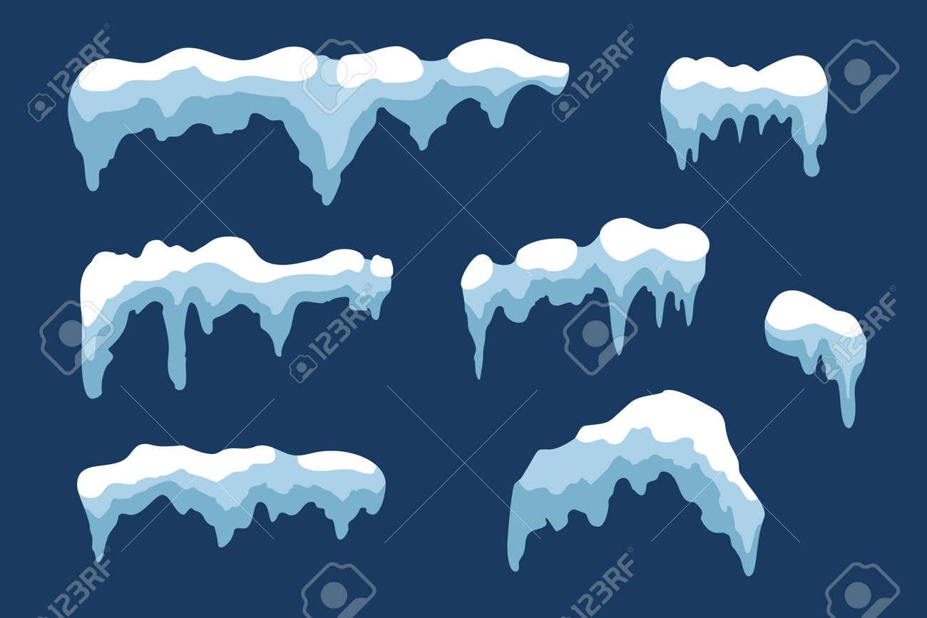 snow ice icicle set winter design white blue snow template
