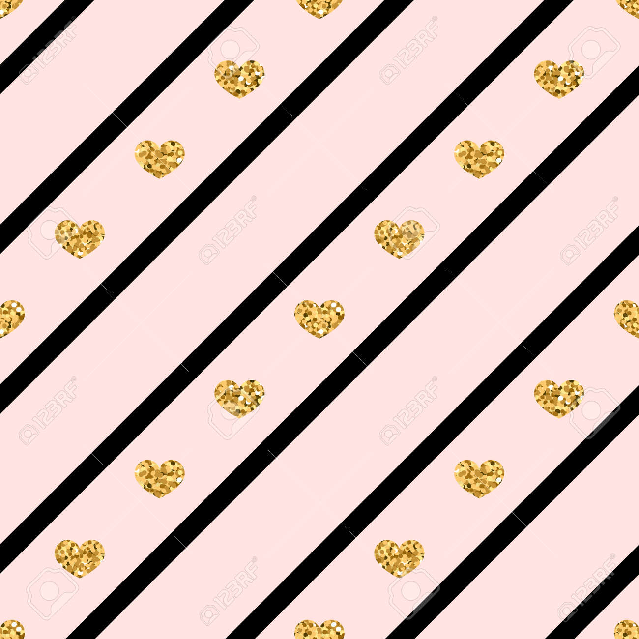 Gold Heart Seamless Pattern Golden Glitter Love Confetti Hearts Royalty Free Cliparts Vectors And Stock Illustration Image 82103920