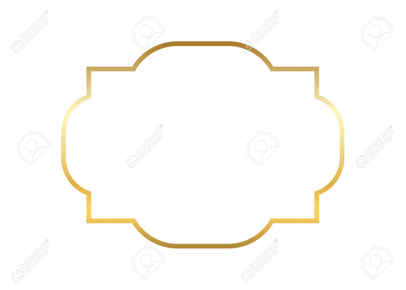 Gold And Beautiful Simple Golden Frame Design Vintage Style Decorative Border Isolated White Background With