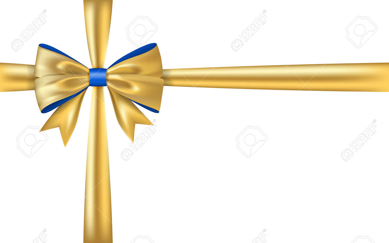 gold gift bow ribbon golden bow tie isolated 3d shiny gift