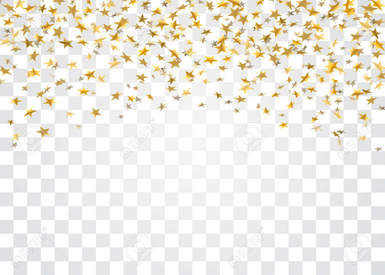 gold stars falling confetti isolated on white transparent background
