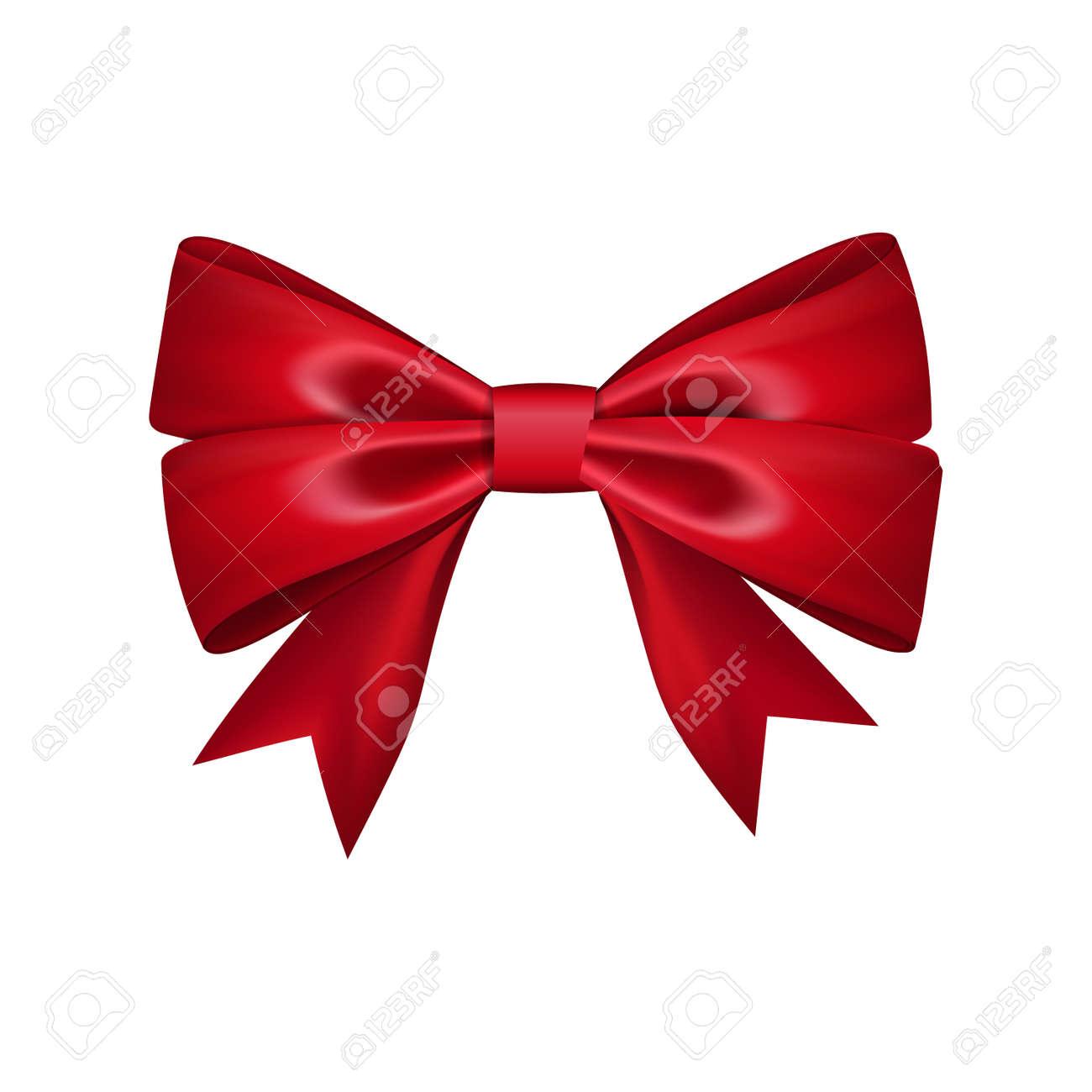 Ruban Cadeau Arc En Soie. Noeud Papillon Rouge Isolé. Noeud