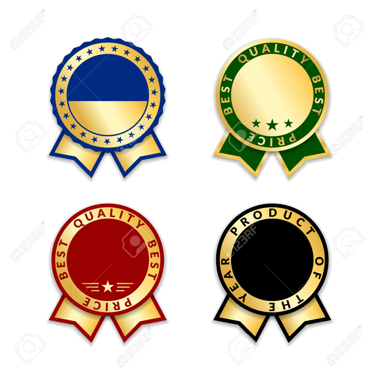 ribbon award best price labels set gold ribbon award icons isolated
