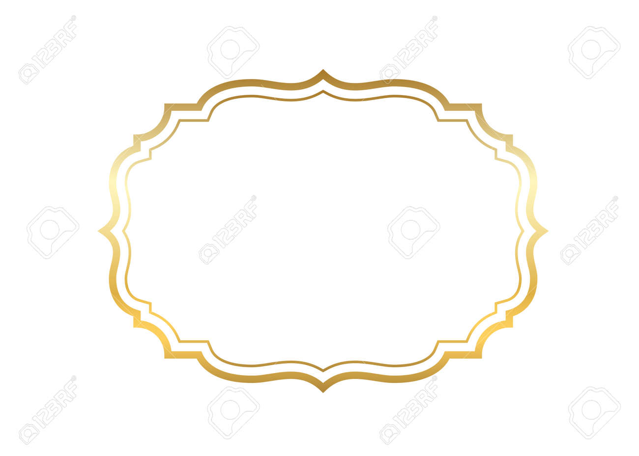 Gold Frame Beautiful Simple Golden Design Vintage Style Decorative Border Isolated White Background