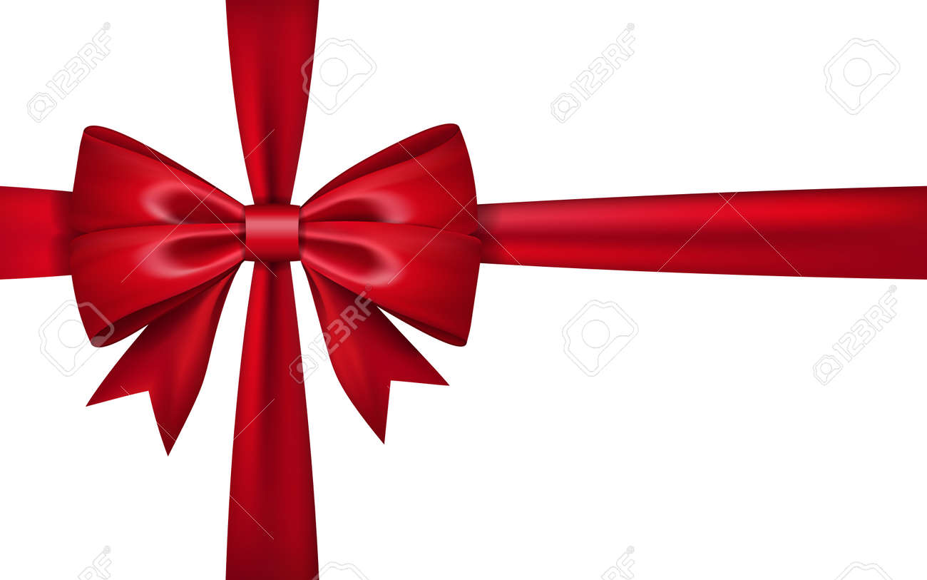 Gift bow ribbon silk red bow tie isolated on white background gift bow ribbon silk red bow tie isolated on white background 3d gift bow negle Image collections