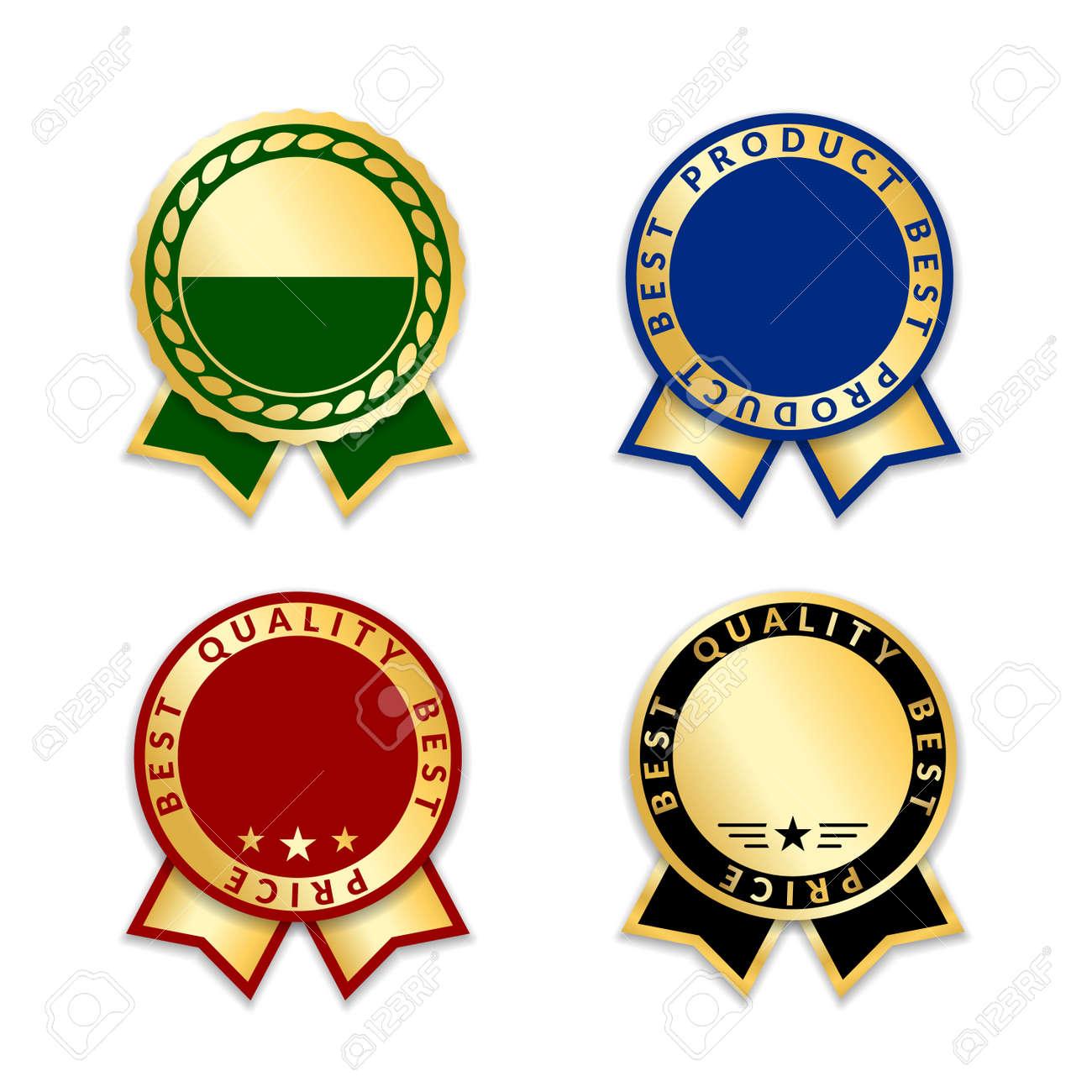 ribbons award best product of year set gold ribbon award icons