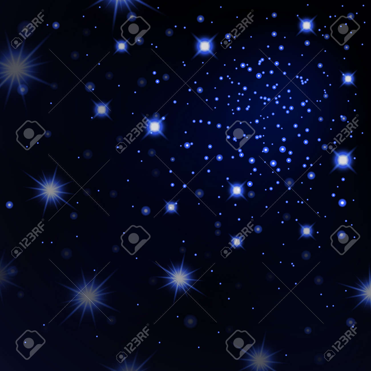 Blue Stars Black Night Sky Background Abstract Bokeh Glowing Royalty Free Cliparts Vectors And Stock Illustration Image 84670385