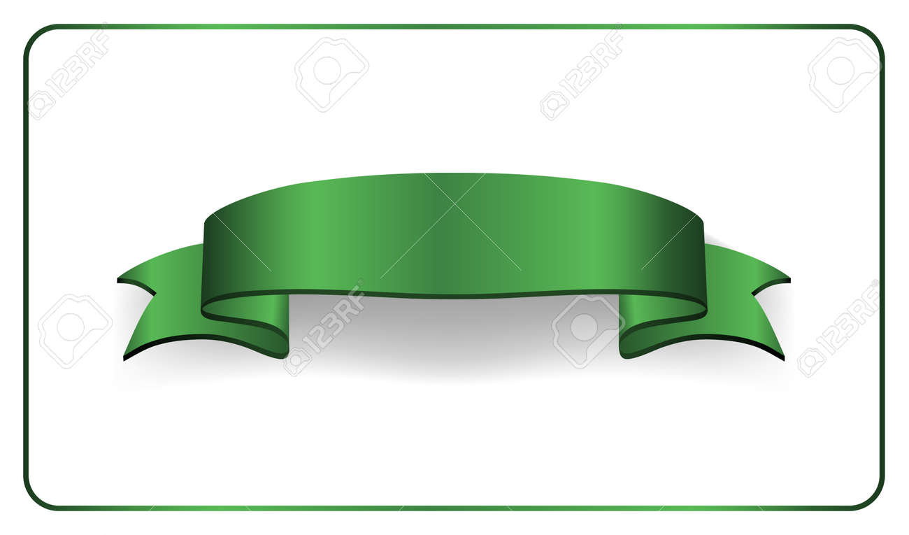 green ribbon banner. satin blank. design label scroll ribbon, Powerpoint templates