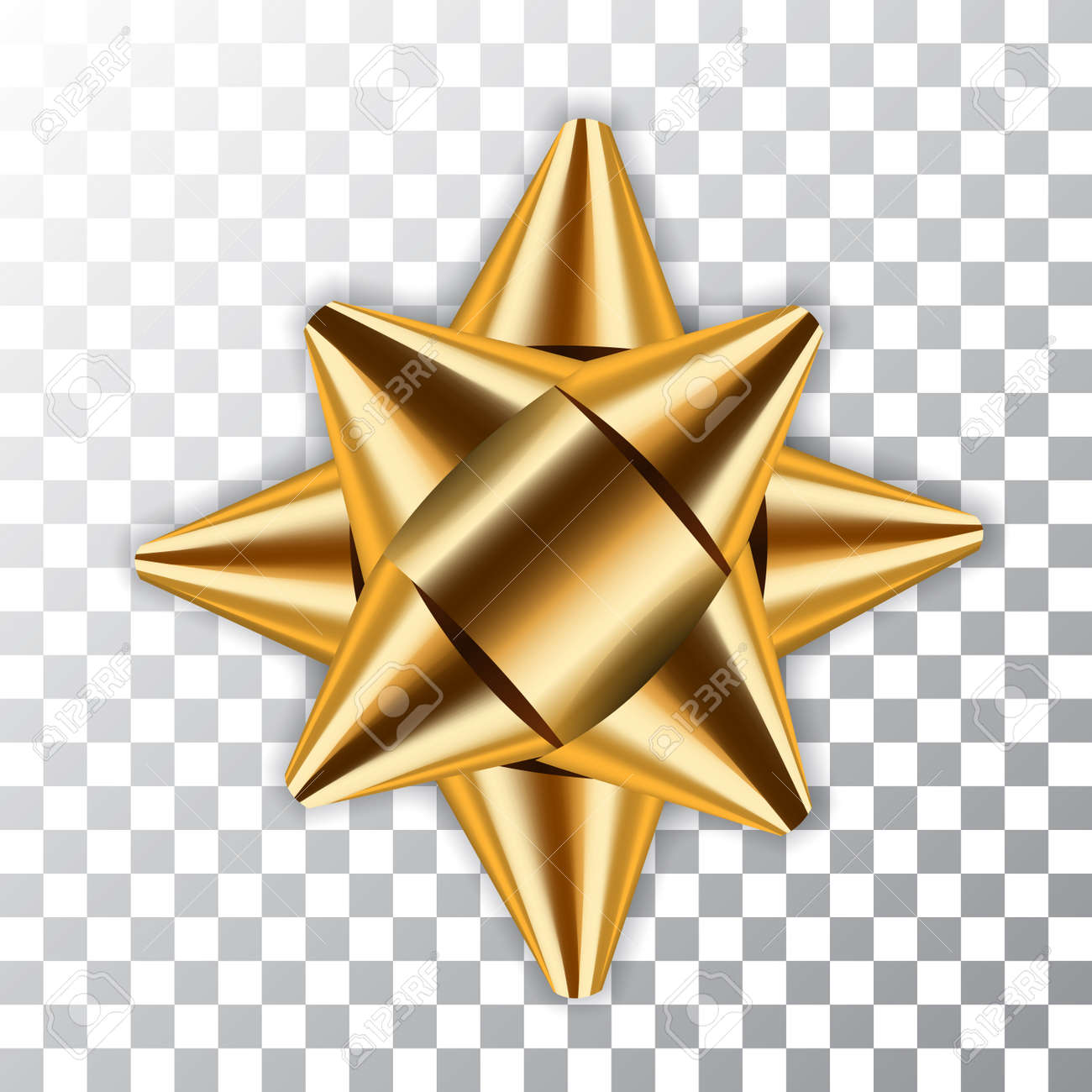 Gold bow ribbon decor element package. Shiny golden satin decoration gift present, isolated white transparent background. Christmas, New Year holiday celebration design Vector illustration - 85354265