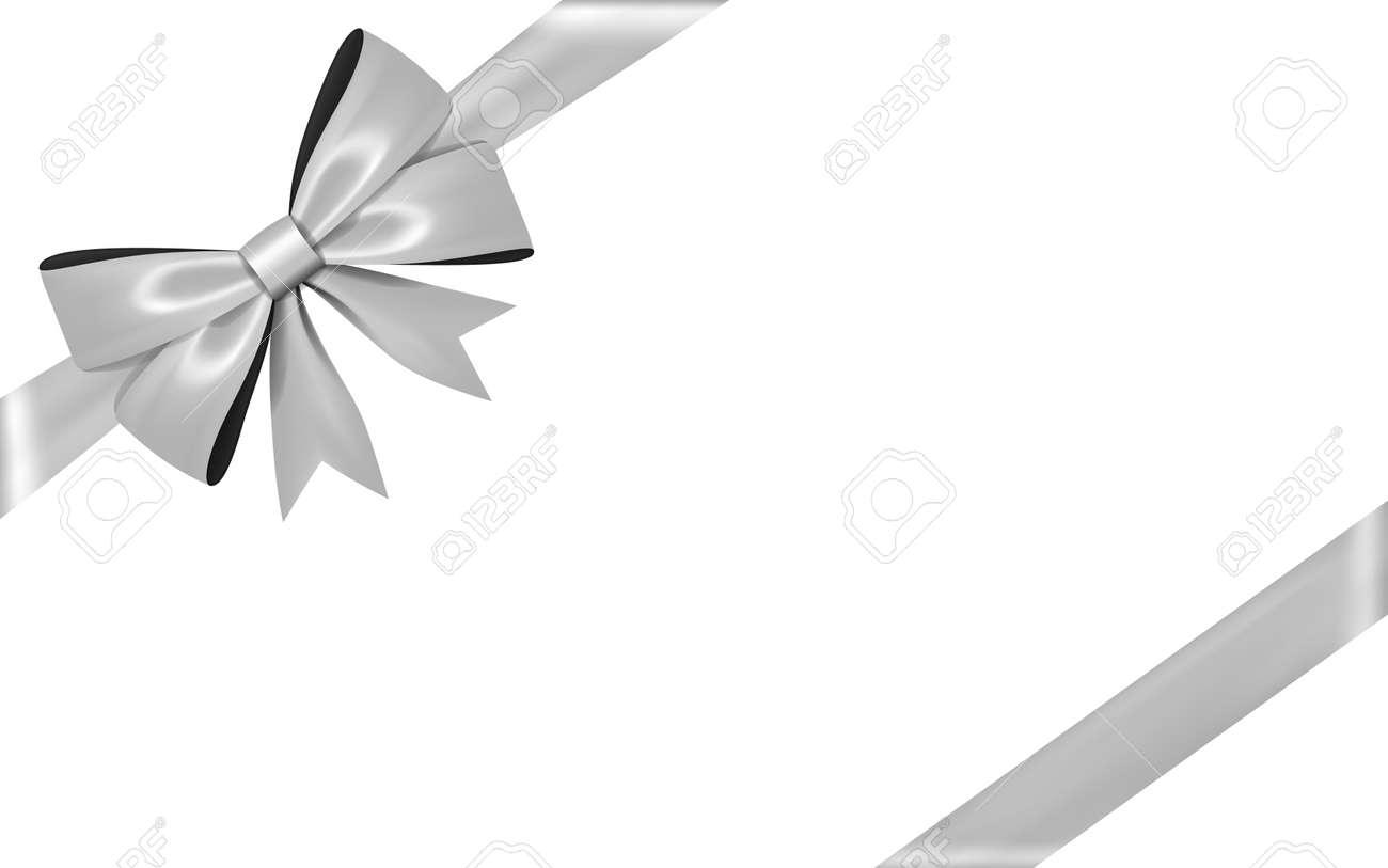 Ruban Darc Cadeau Argent Noeud Papillon Isolé Sur Fond Blanc Noeud Papillon Brillant Cadeau 3d Pour Cadeau De Noël Décoration De Vacances