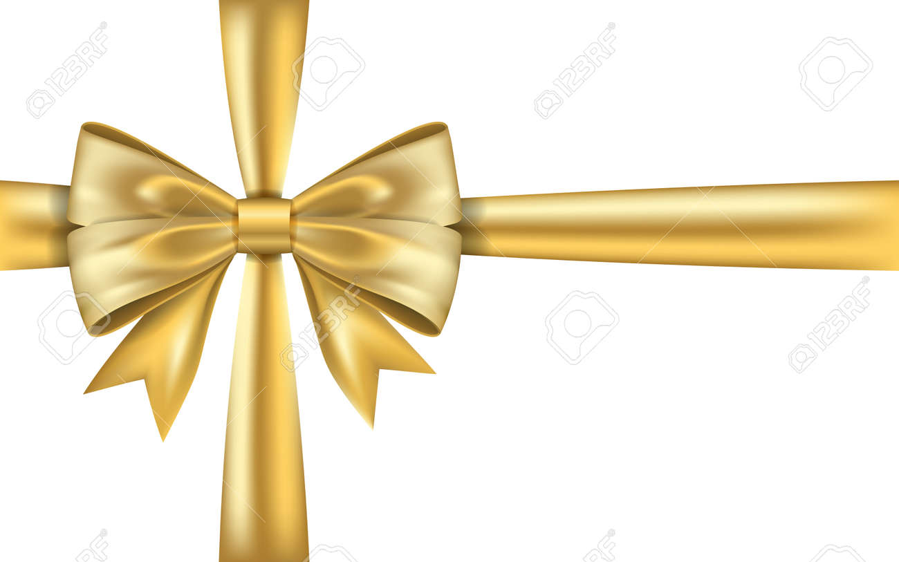 gold gift bow ribbon golden bow tie isolated on white background