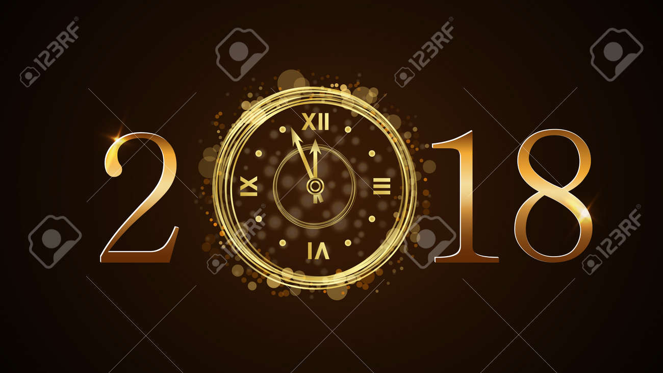 happy new year card background golden numbers 2018 christmas and