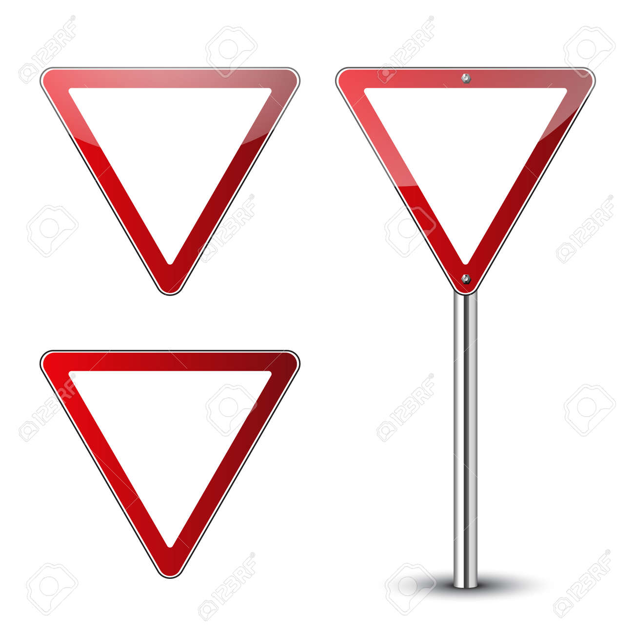 Yield Triangle Signs Blank Set Traffic Red Road Signs Isolated
