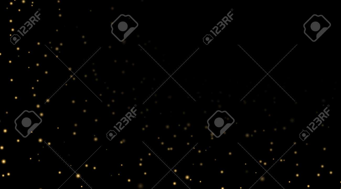夜空の黒の背景の金の星。暗い天文学領域のテンプレートです。銀河の星空パターンの壁紙。光沢のある金色の星、夜の空の宇宙。ベクター  グラフィックの壁紙コスモスの星
