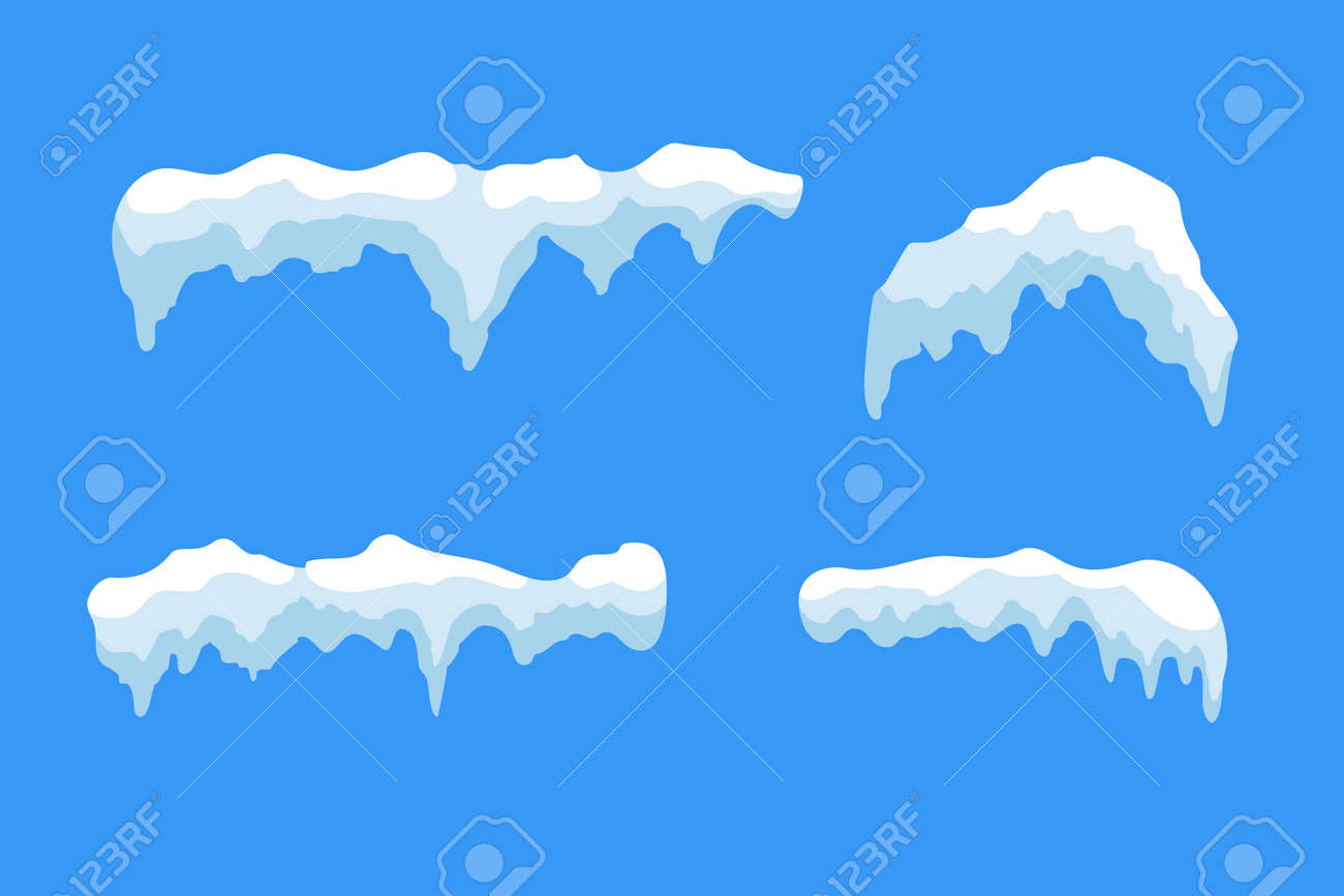 snow ice icicle set winter design white blue snow template