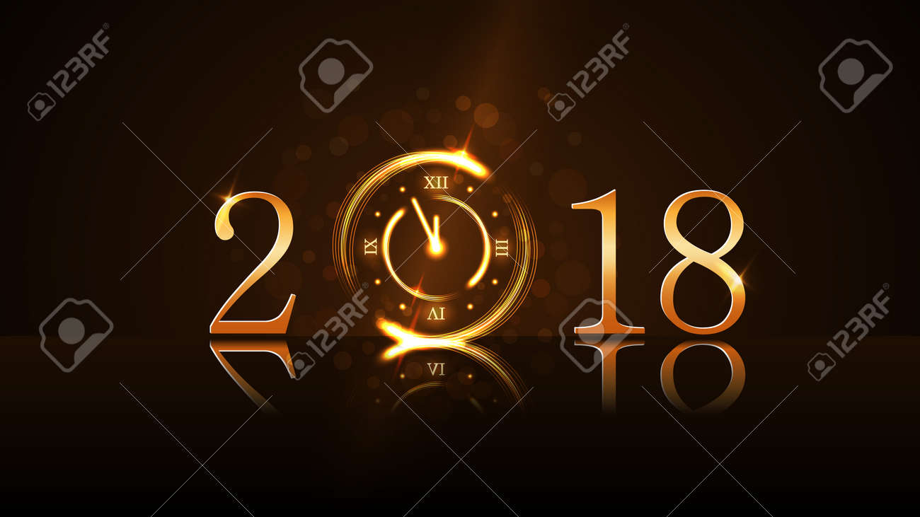 Happy New Year card background. Magic gold clock countdown. Golden numbers 2018. Christmas and New Year night glitter clock. Design decoration. Symbol wish, celebration Vector illustration - 88566907
