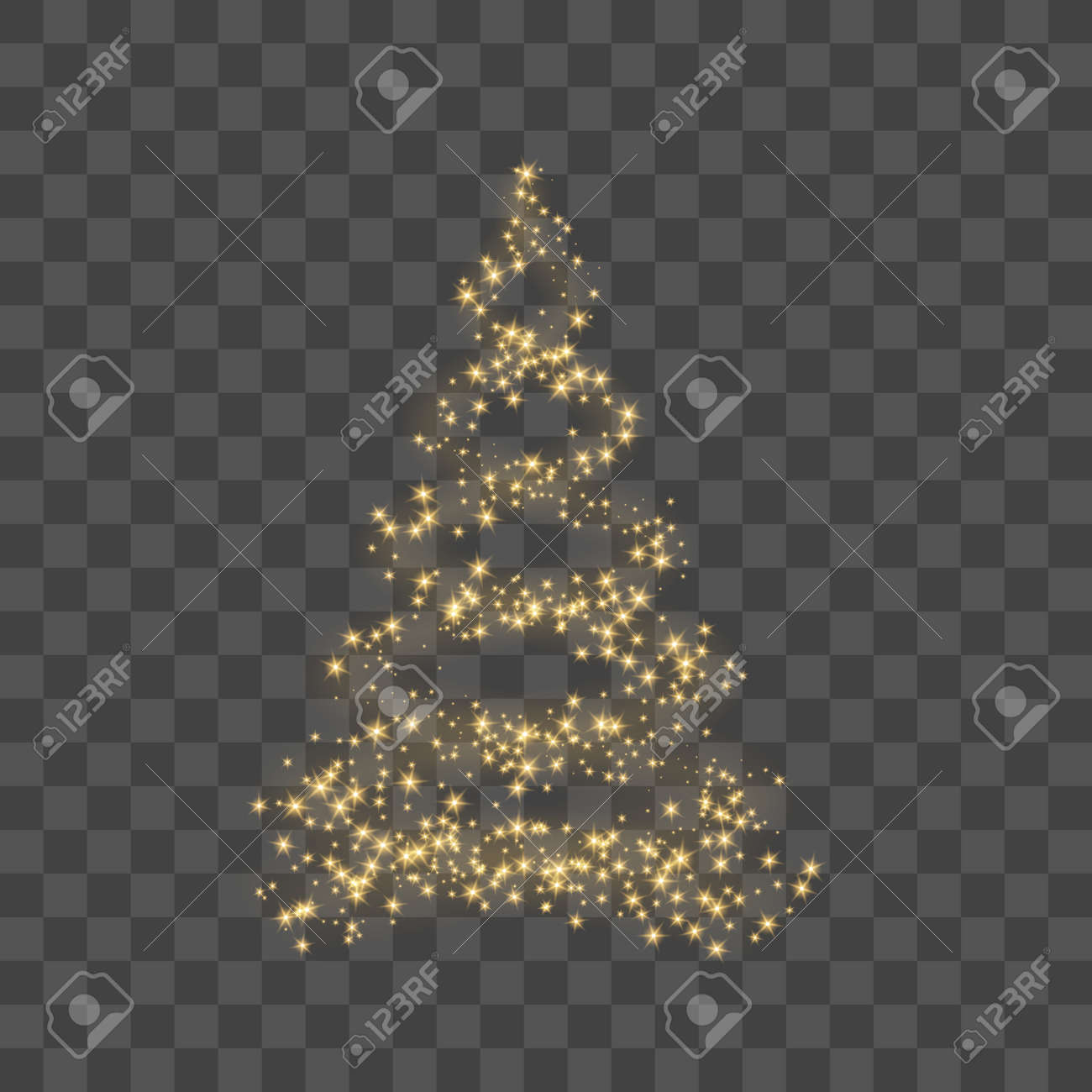 Christmas Tree On Transparent Background Gold Christmas Tree As Symbol Of Happy New Year