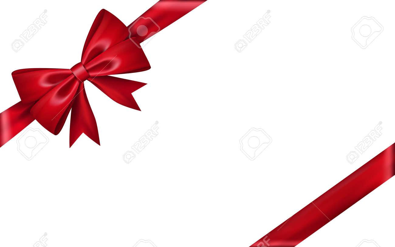 Ruban De Cadeau En Soie. Noeud Papillon Rouge Isolé Sur Fond Blanc