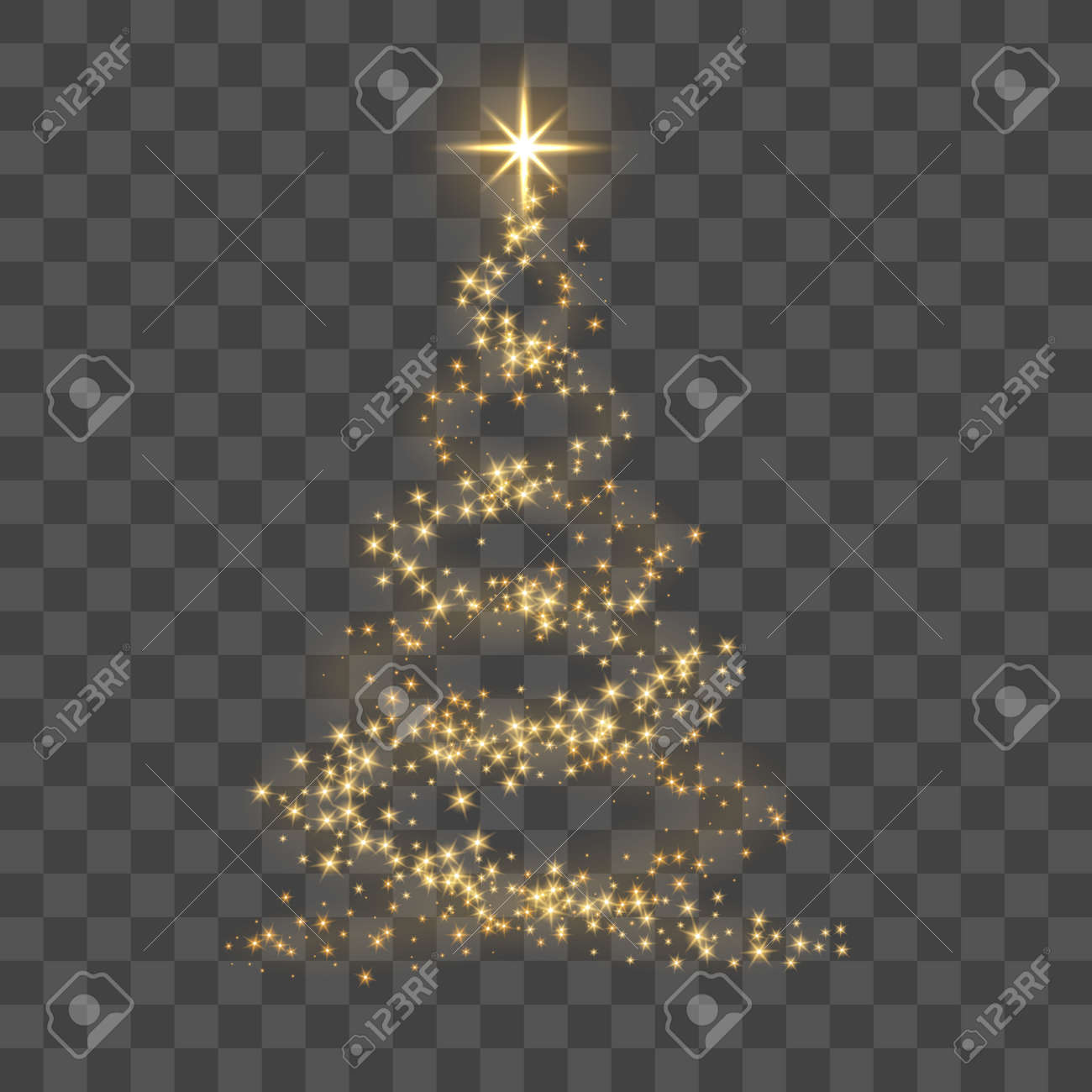 Christmas Tree Clipart Transparent Background.Christmas Tree On Transparent Background Gold Christmas Tree