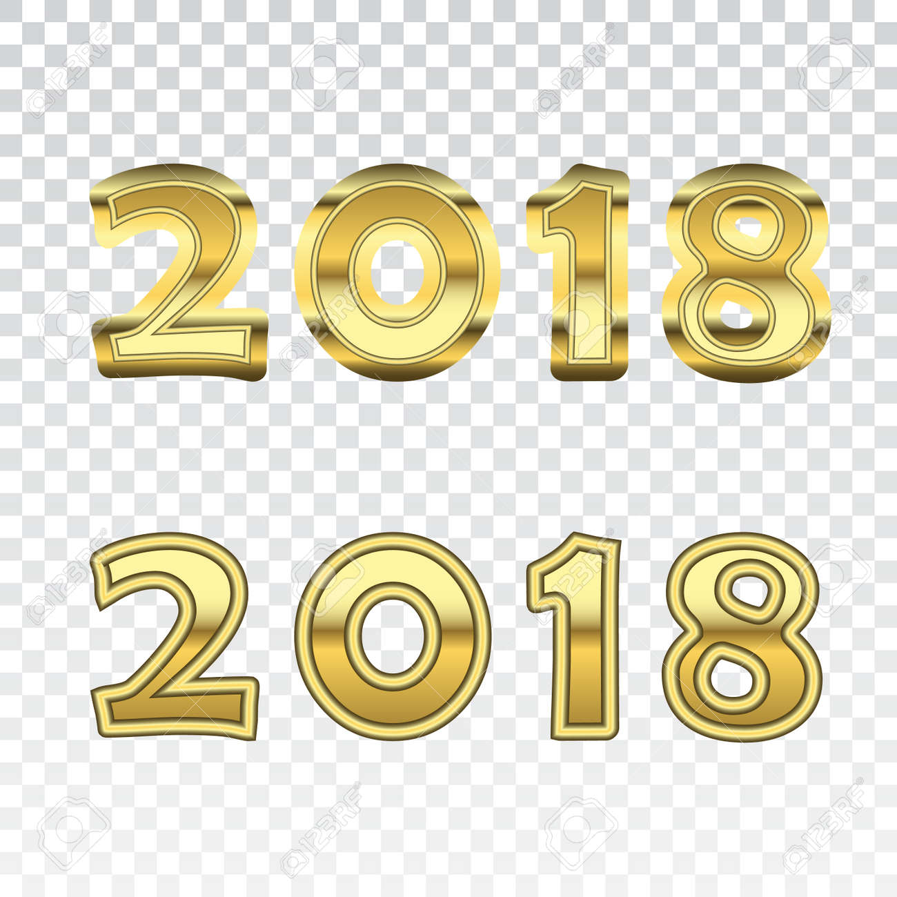 Happy new year golden numbers gold numbers 2018 on white vector illustration happy new year golden numbers gold numbers 2018 on white transparent background christmas and voltagebd Gallery