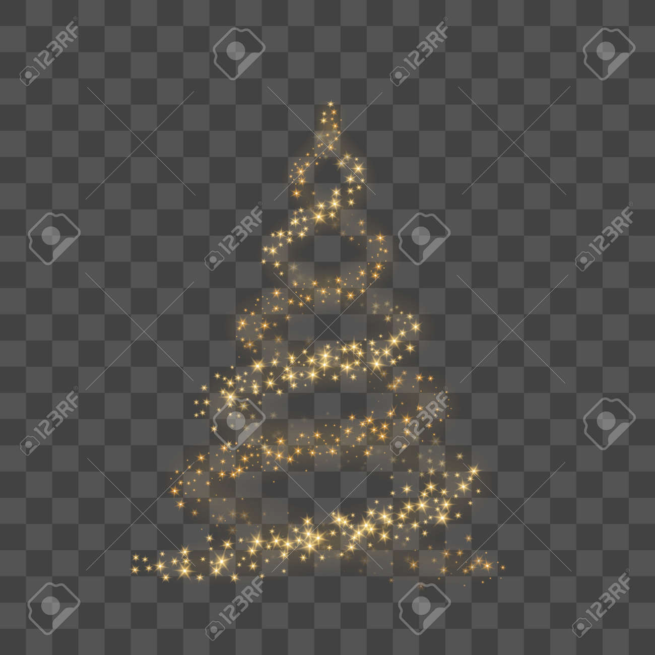 Christmas Tree On Transparent Background Gold As Symbol Of Happy New Year