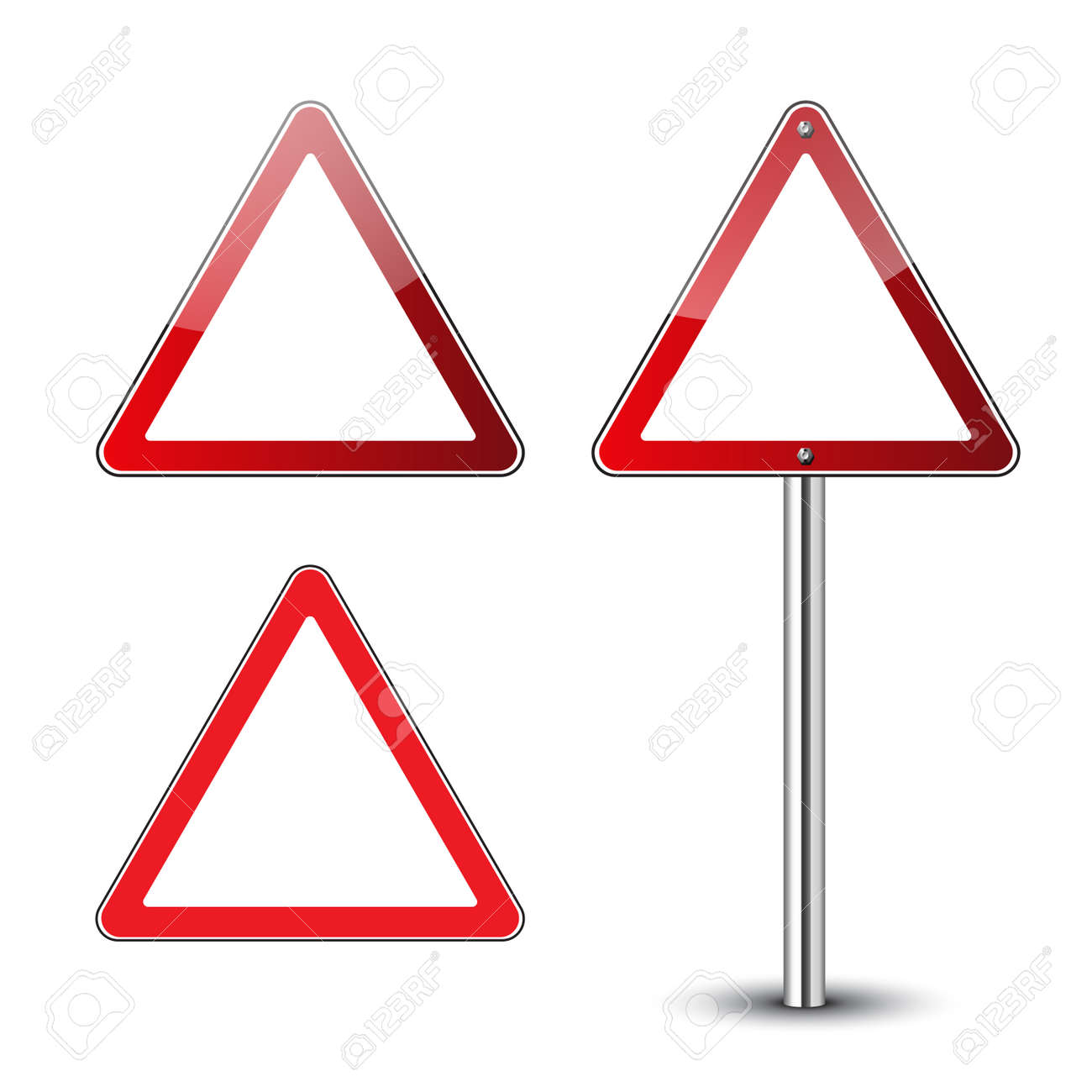 Triangle Warning Signs Blank Danger Red Triangular Road Signs