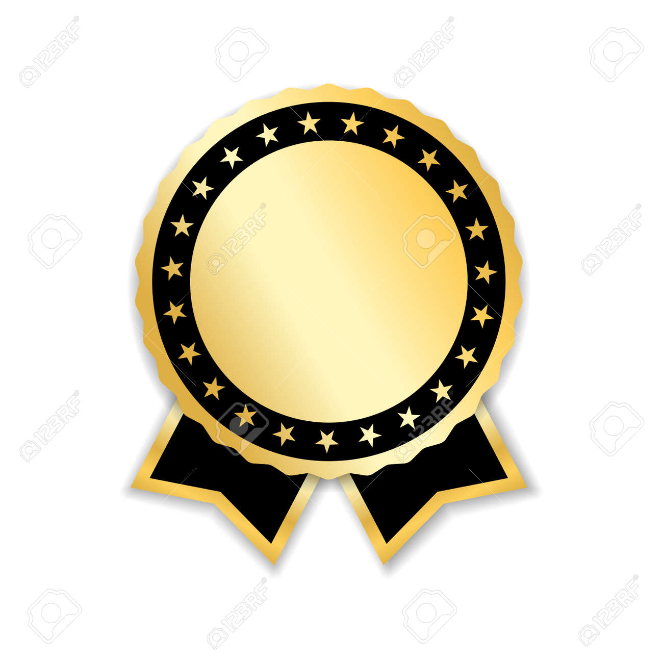 Award Ribbon Isolated Gold Design Medal Label Badge Certificate