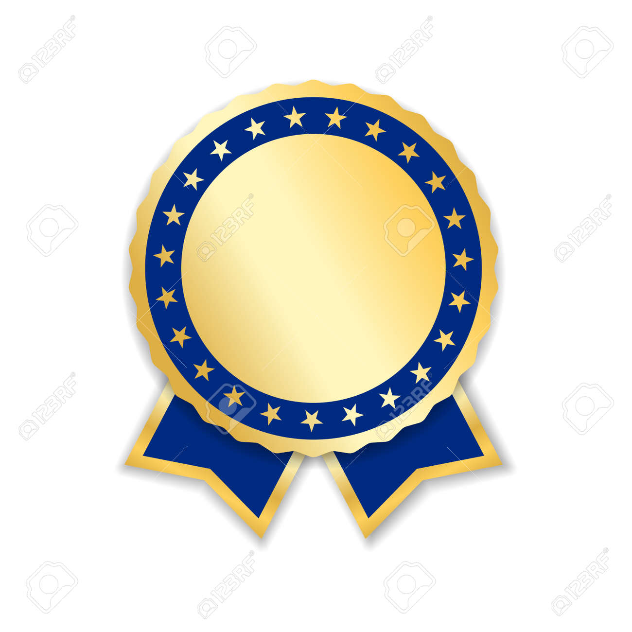 Award ribbon isolated. Gold blue design medal, label, badge, certificate. Symbol best sale, price, quality, guarantee or success, achievement. Golden ribbon award decoration Vector illustration - 91882557