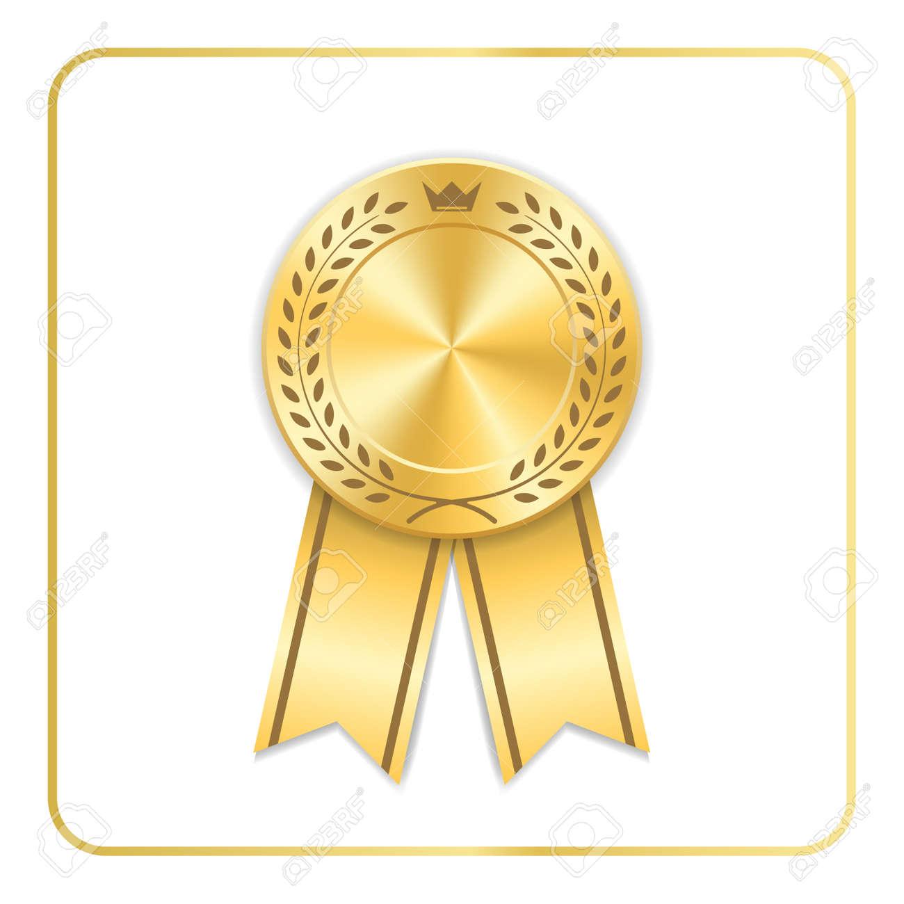 Perfect Archivio Fotografico   Icona Del Nastro Du0027oro Del Premio. Medaglia In  Bianco Con Corona Di Alloro Su Priorità Bassa Bianca. Timbro Design Trofeo  Rosetta.