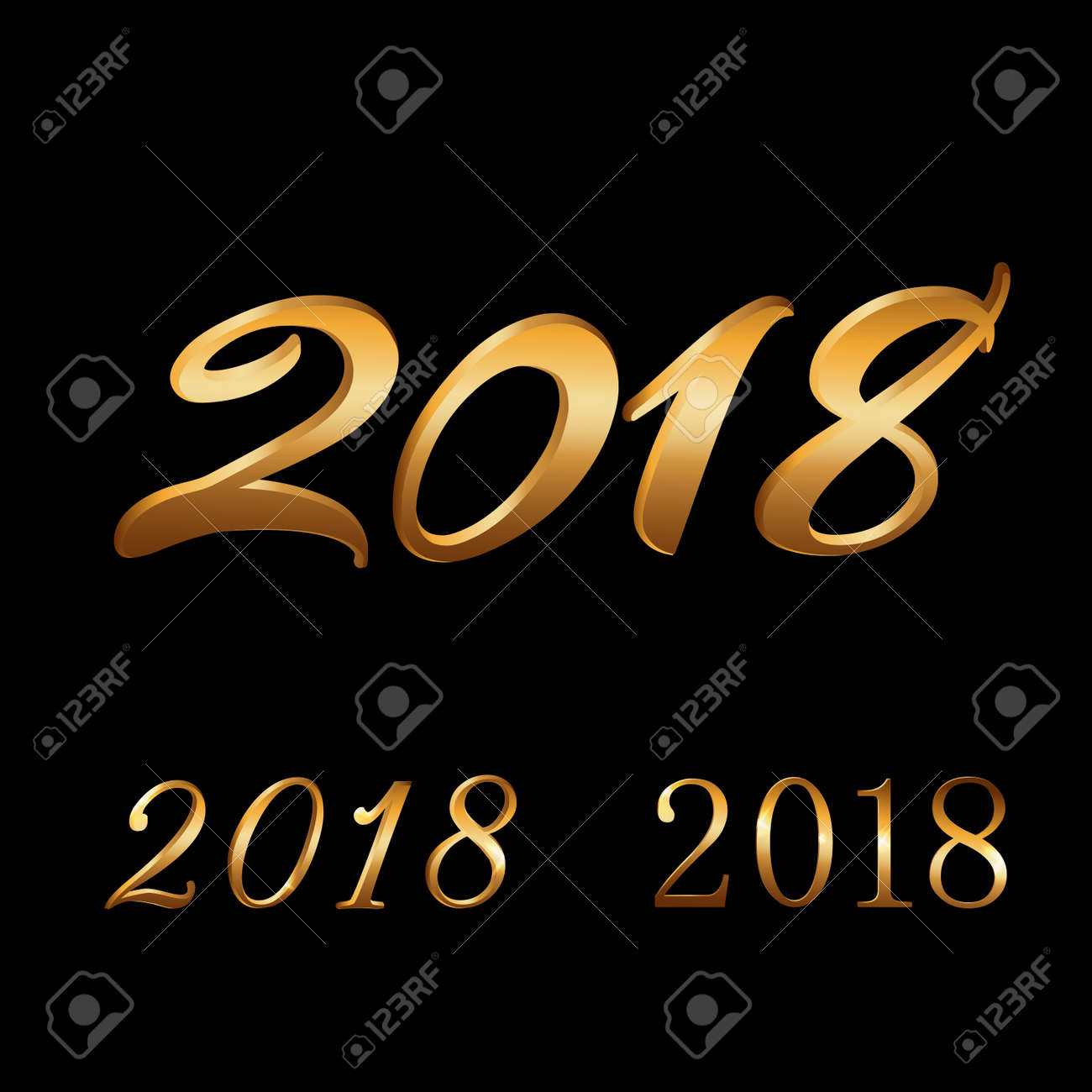 happy new year background gold numbers set 2018 for card christmas design with light