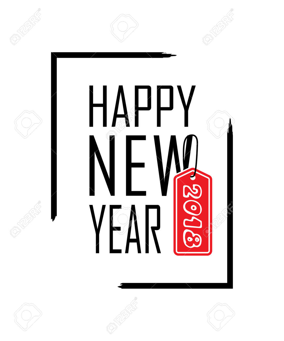 happy new year text in focus frame black border and font happy new year on