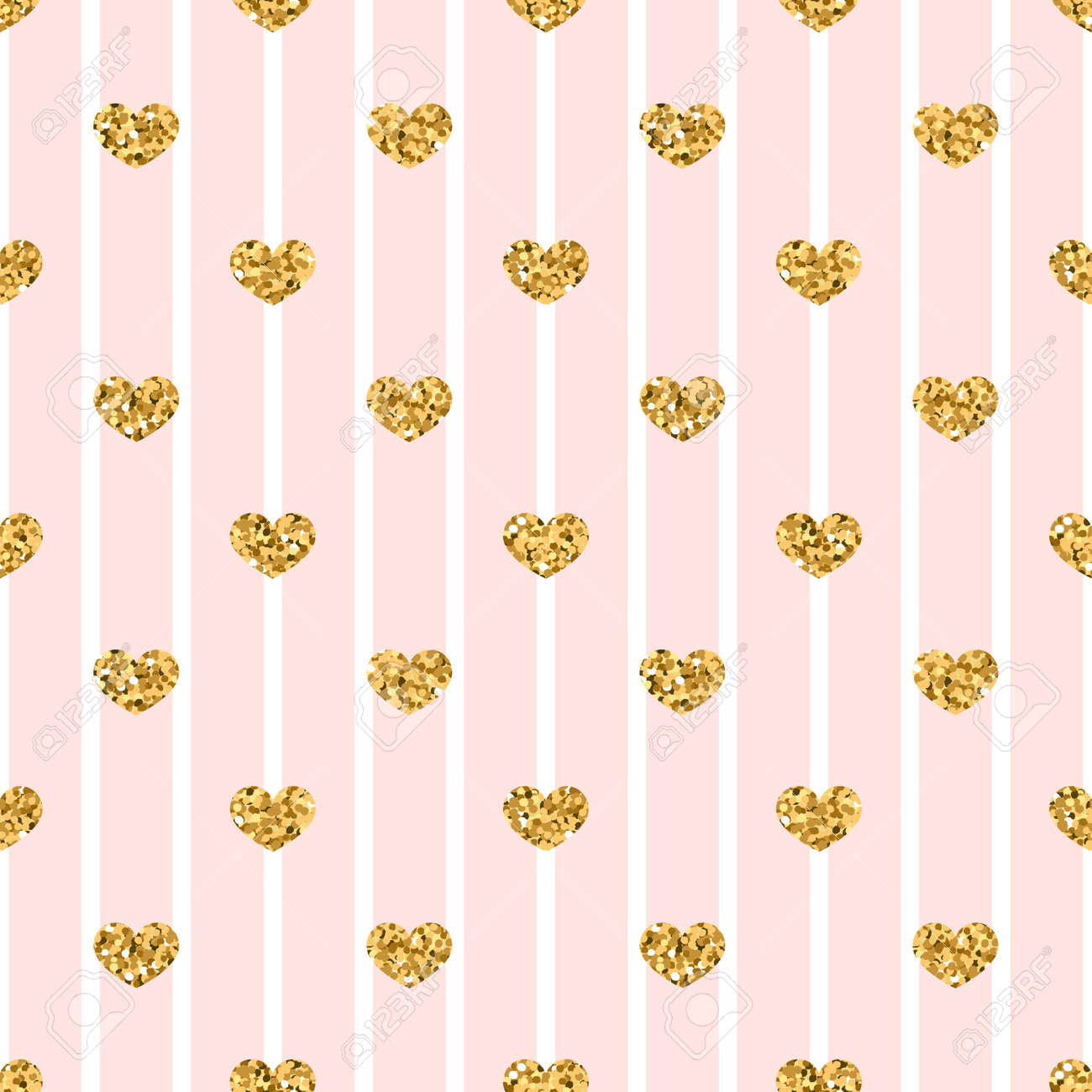 Gold Heart Seamless Pattern Pink White Geometric Stripes Golden Confetti Hearts